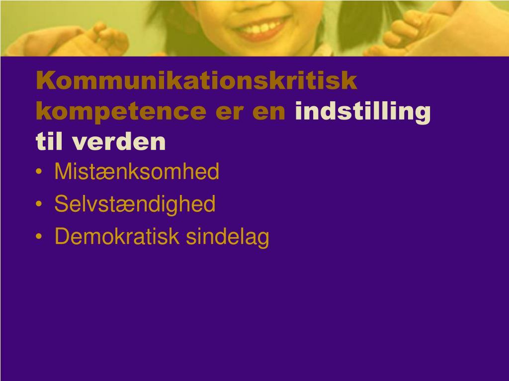 Kommunikationskritisk kompetence er en