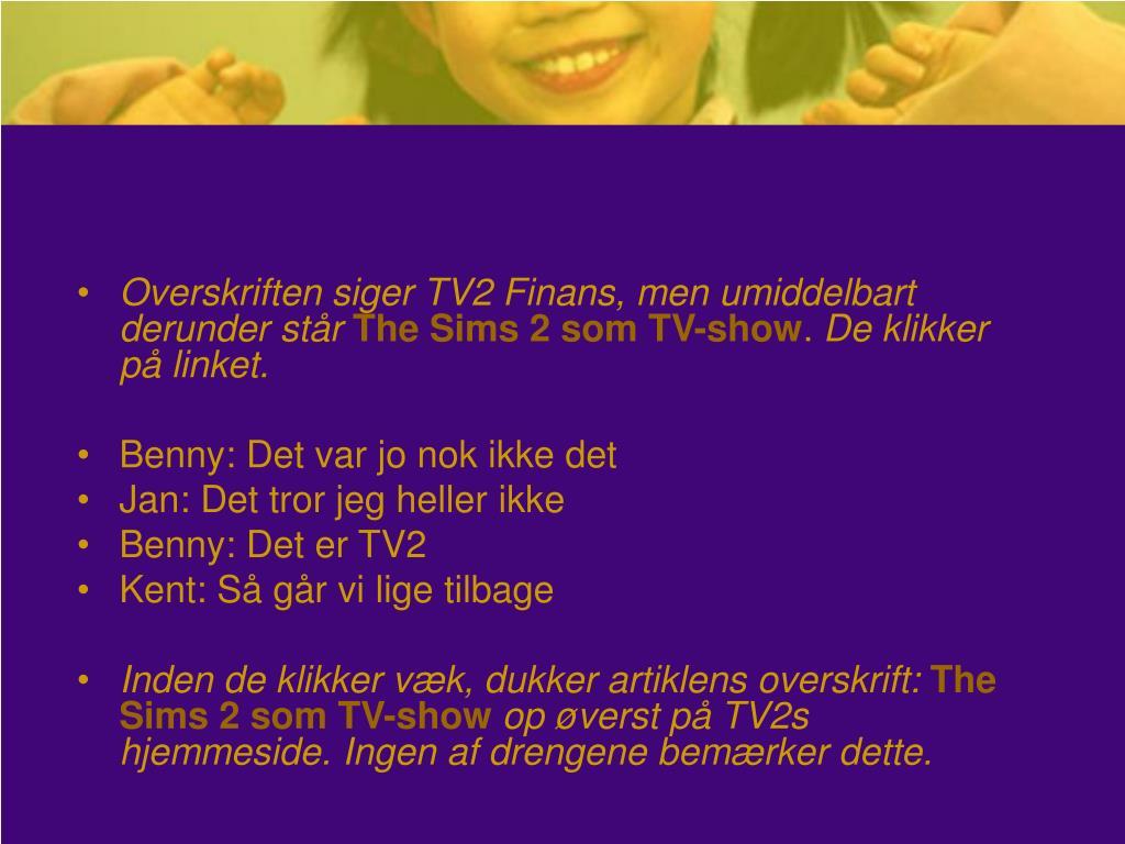 Overskriften siger TV2 Finans, men umiddelbart derunder står