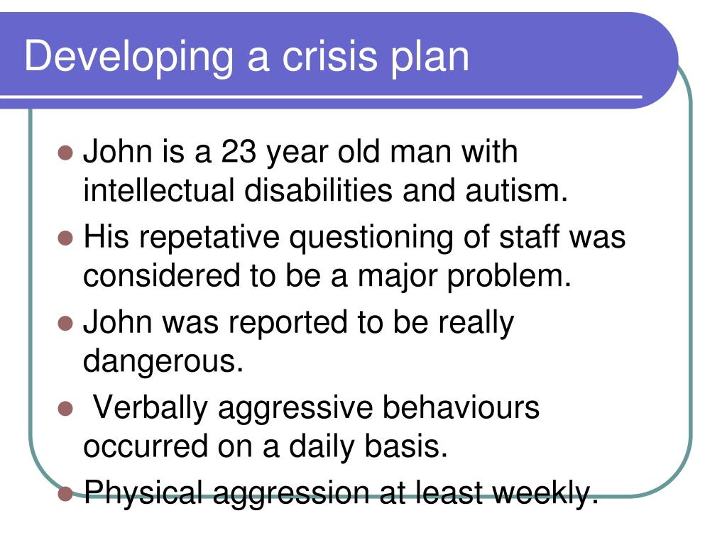 Developing a crisis plan