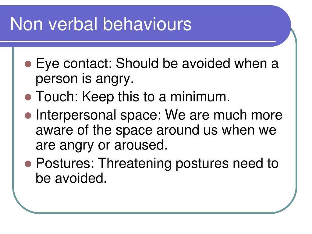 Non verbal behaviours