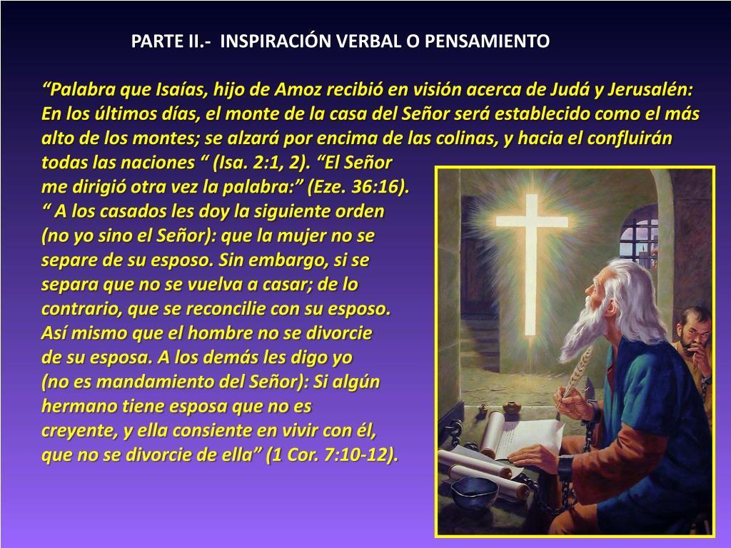 PARTE II.-  INSPIRACIÓN VERBAL O PENSAMIENTO
