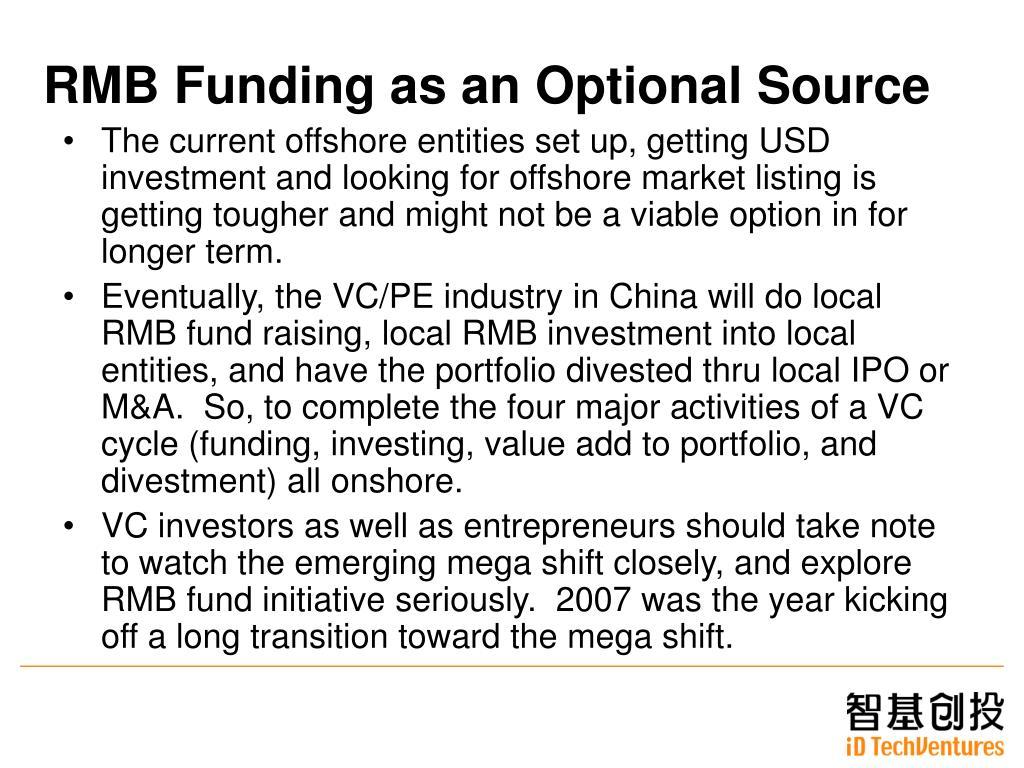 RMB Funding as an Optional Source