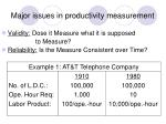 major issues in productivity measurement