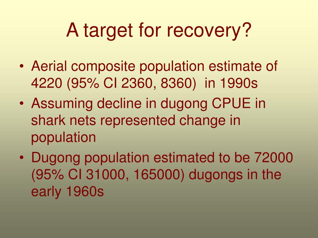 A target for recovery?