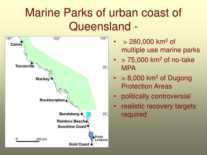 Marine parks of urban coast of queensland