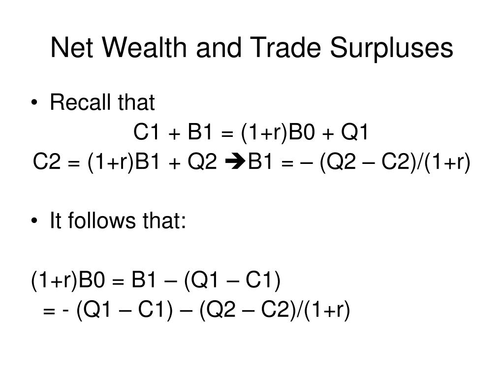 Net Wealth and Trade Surpluses
