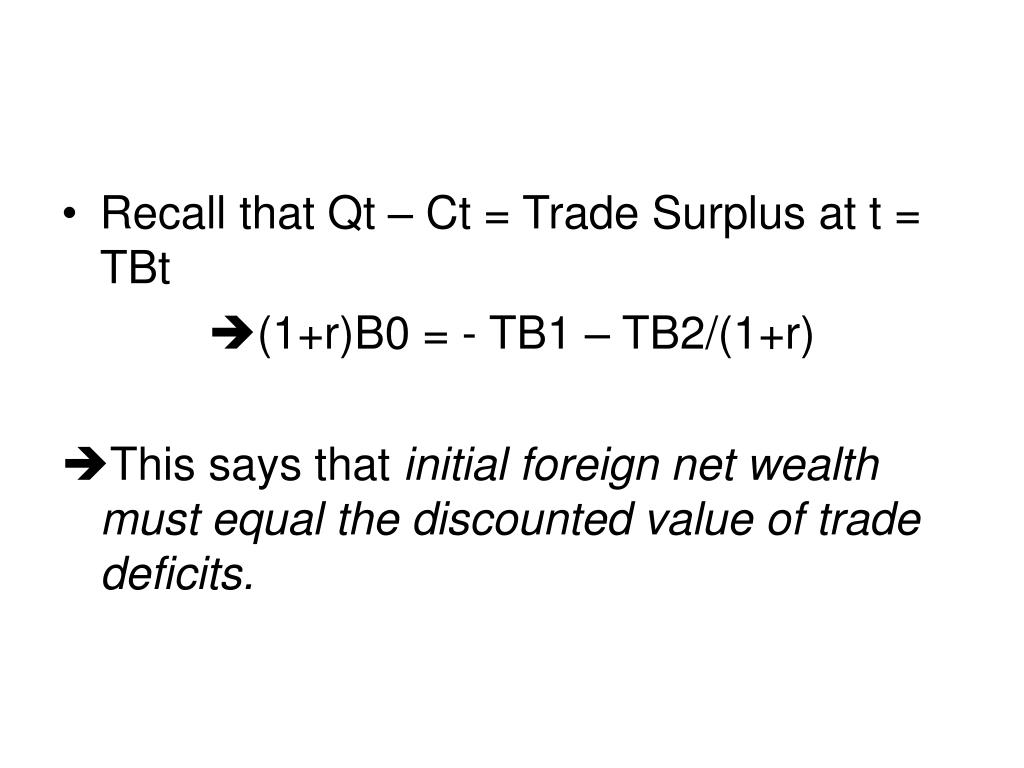 Recall that Qt – Ct = Trade Surplus at t = TBt