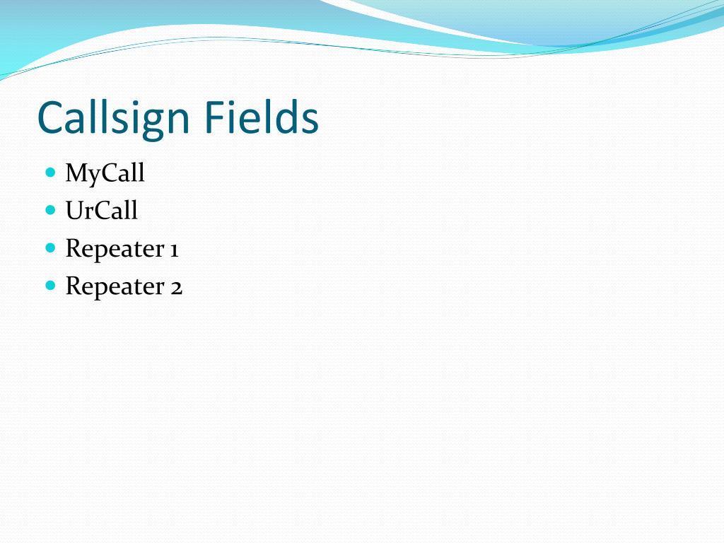 Callsign Fields
