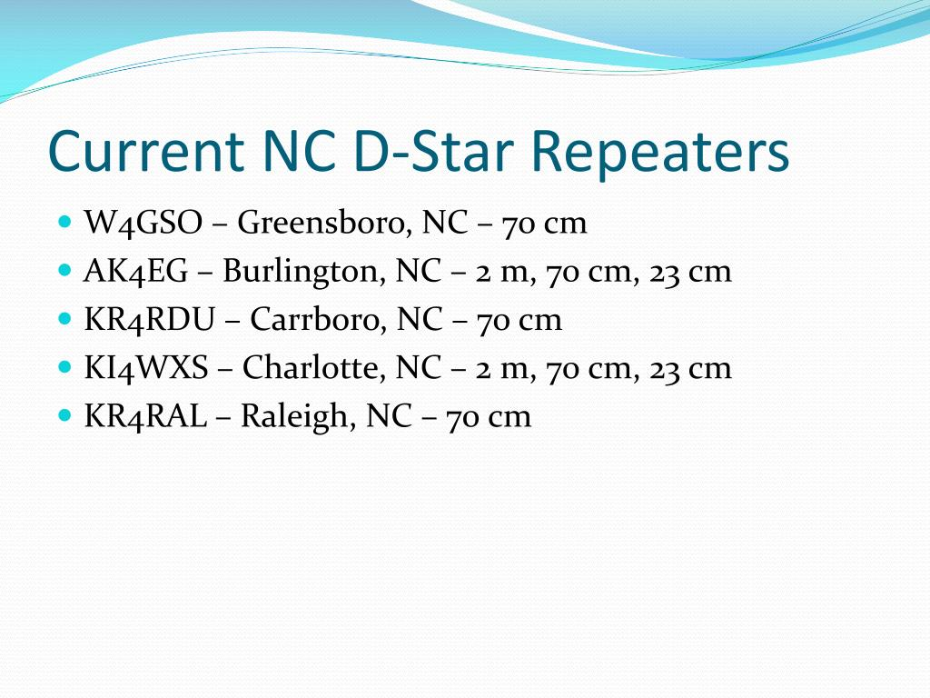 Current NC D-Star Repeaters