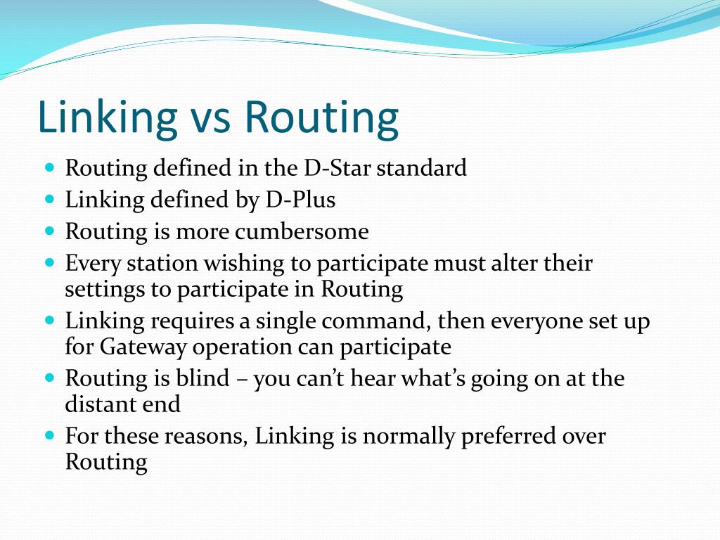 Linking vs Routing