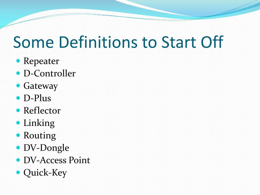 Some Definitions to Start Off