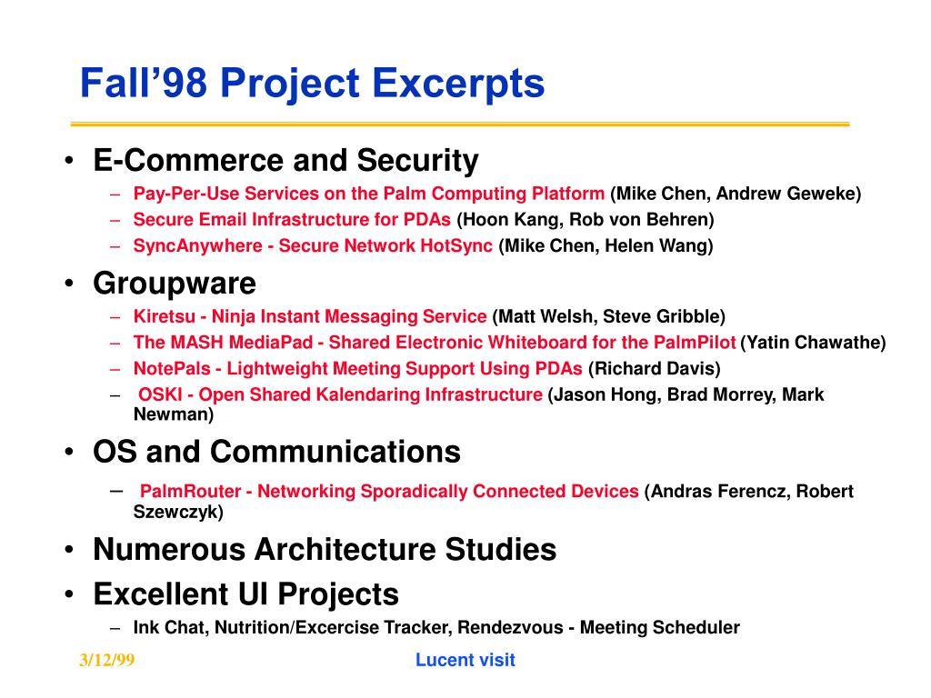 Fall'98 Project Excerpts
