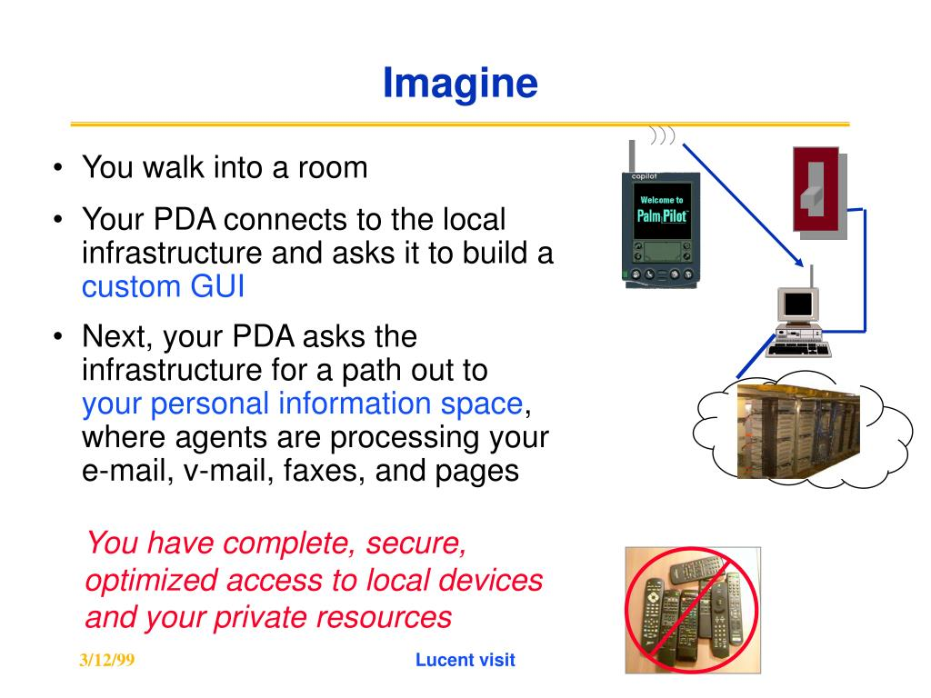 Your PDA connects to the local infrastructure and asks it to build a