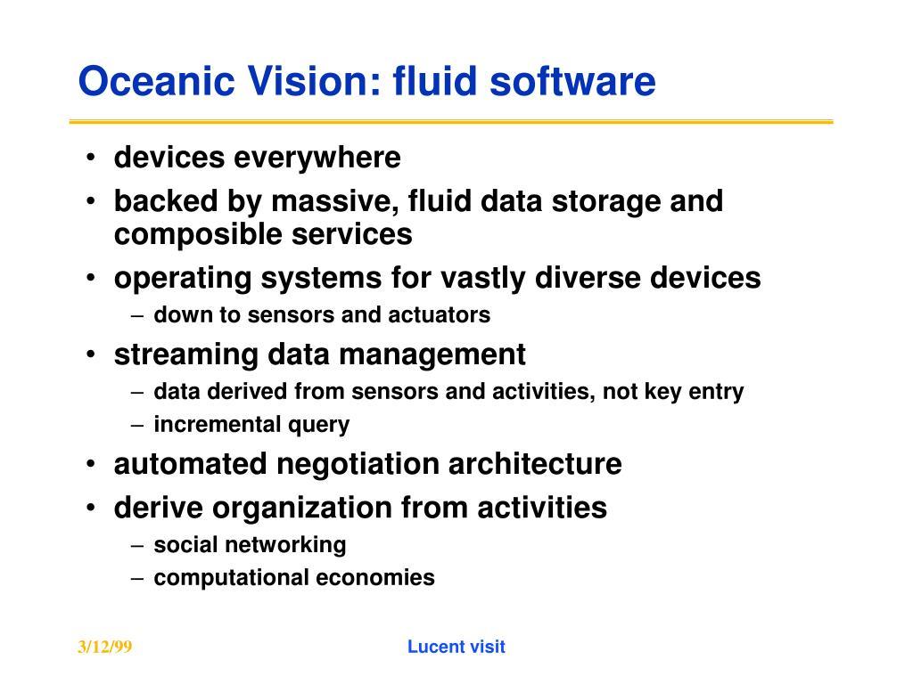 Oceanic Vision: fluid software