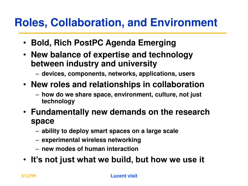 Roles, Collaboration, and Environment