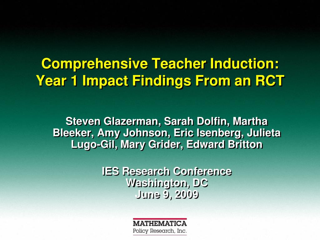 comprehensive teacher induction year 1 impact findings from an rct l.