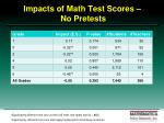 impacts of math test scores no pretests