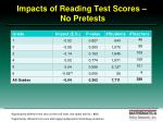 impacts of reading test scores no pretests