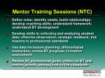 mentor training sessions ntc
