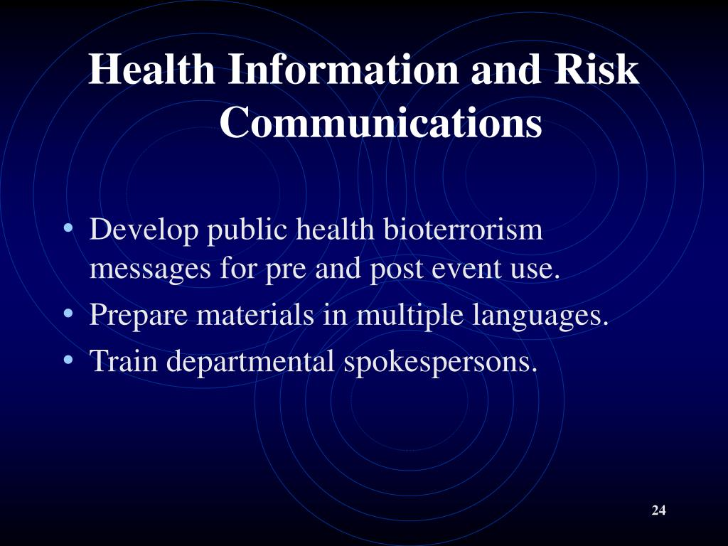 Health Information and Risk       Communications
