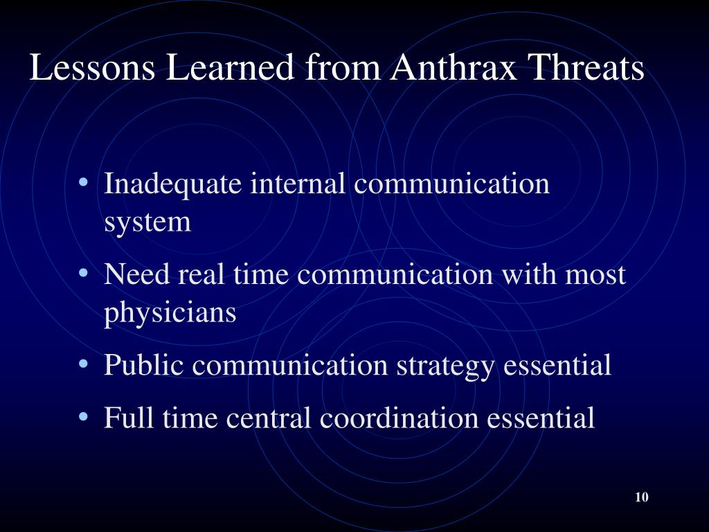 Lessons Learned from Anthrax Threats