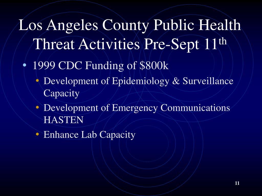 Los Angeles County Public Health Threat Activities Pre-Sept 11