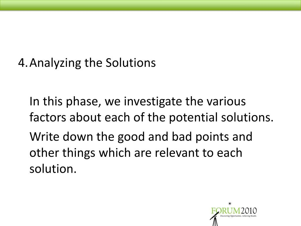 4.	Analyzing the Solutions