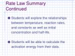 rate law summary continued