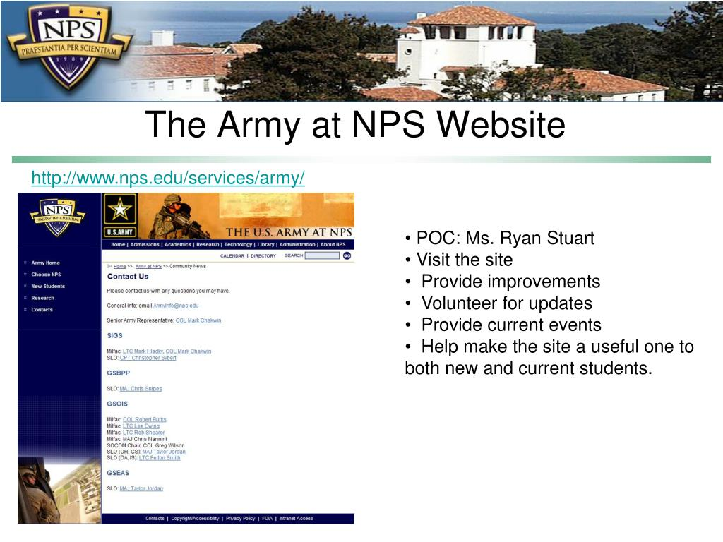 The Army at NPS Website