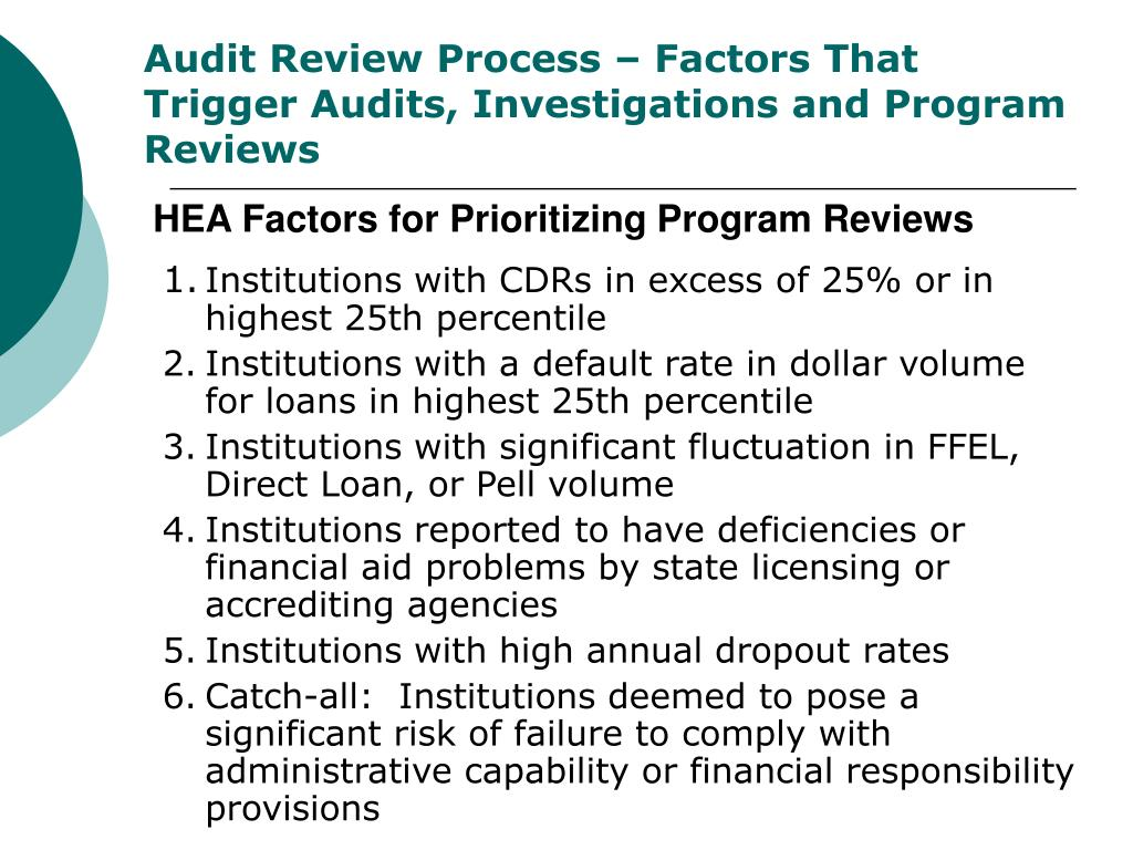 Audit Review Process – Factors That Trigger Audits, Investigations and Program Reviews