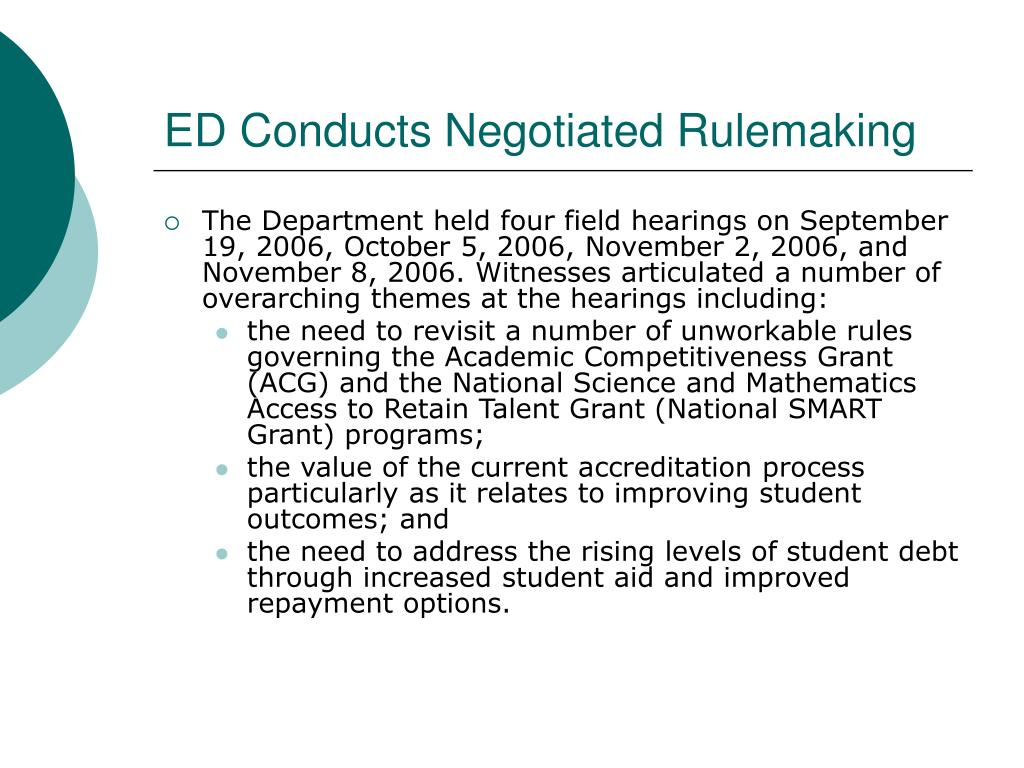 ED Conducts Negotiated Rulemaking