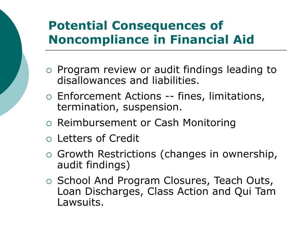 Potential Consequences of Noncompliance in Financial Aid