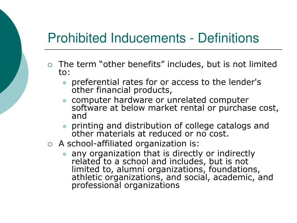 Prohibited Inducements - Definitions