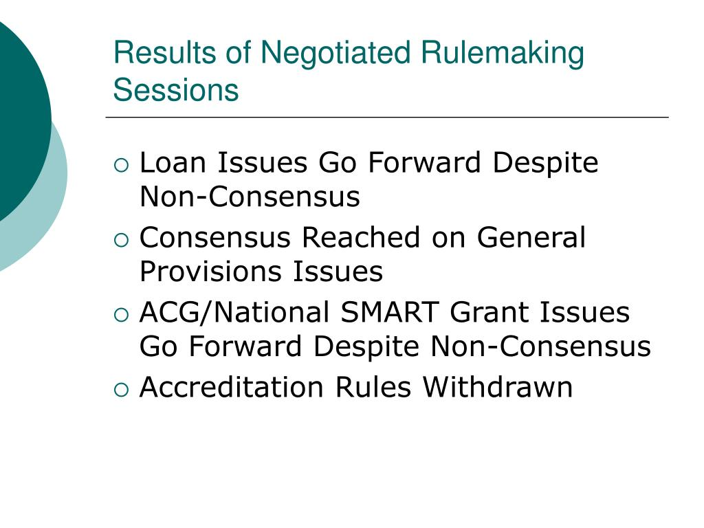 Results of Negotiated Rulemaking Sessions