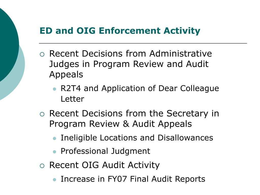 ED and OIG Enforcement Activity
