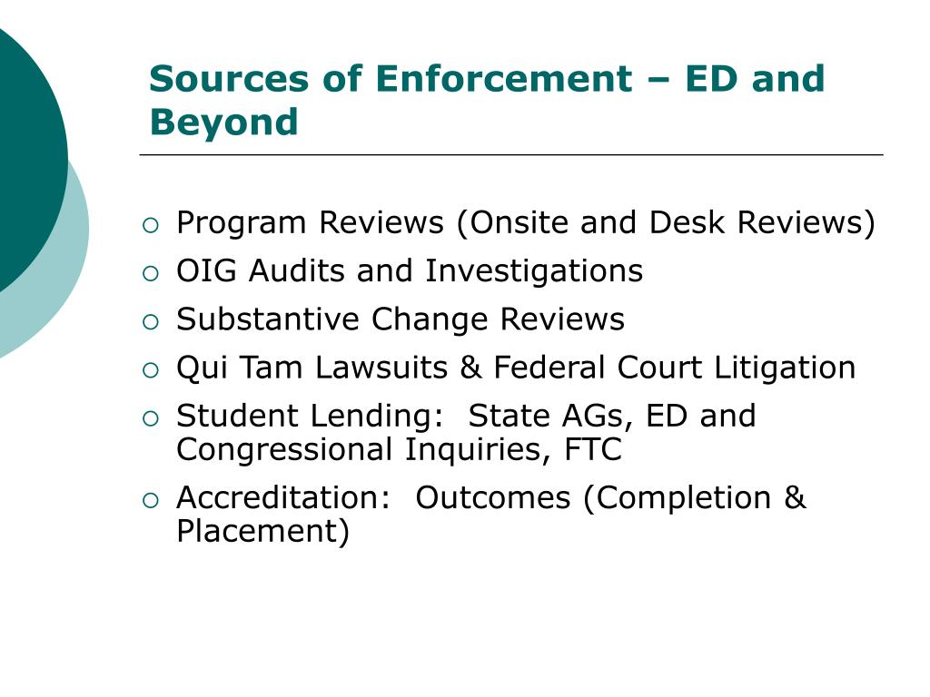 Sources of Enforcement – ED and Beyond