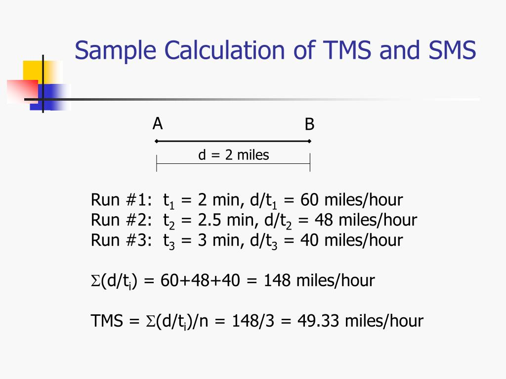 Sample Calculation of TMS and SMS