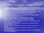 annex for the mou doe ead