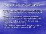 important sites for green turtles