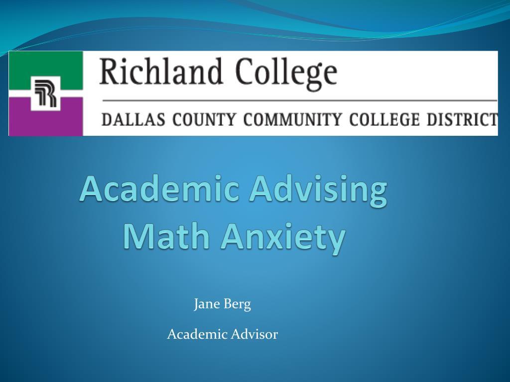 academic advising math anxiety l.