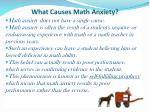 what causes math anxiety