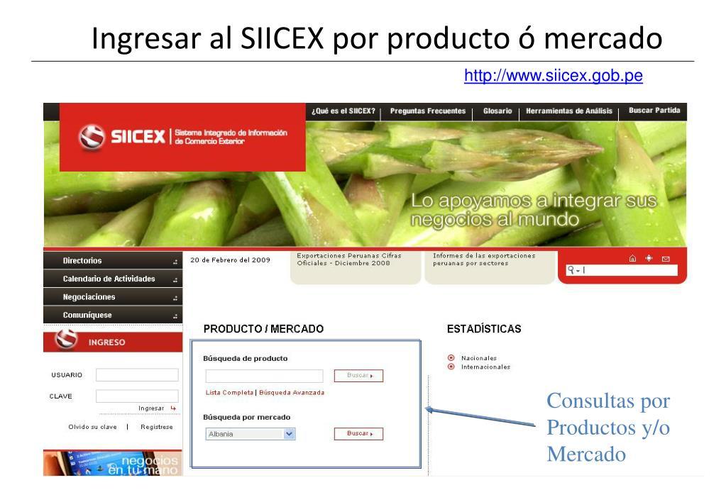 Ingresar al SIICEX por producto ó mercado