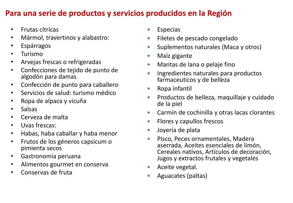 Para una serie de productos y servicios producidos en la Región