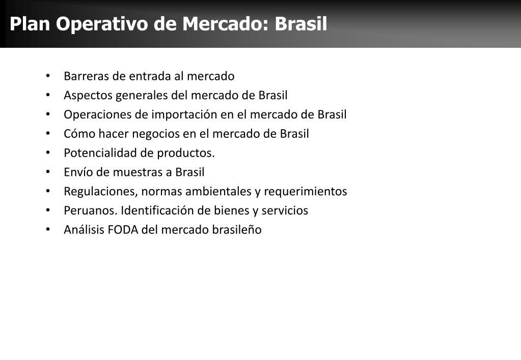 Plan Operativo de Mercado: Brasil