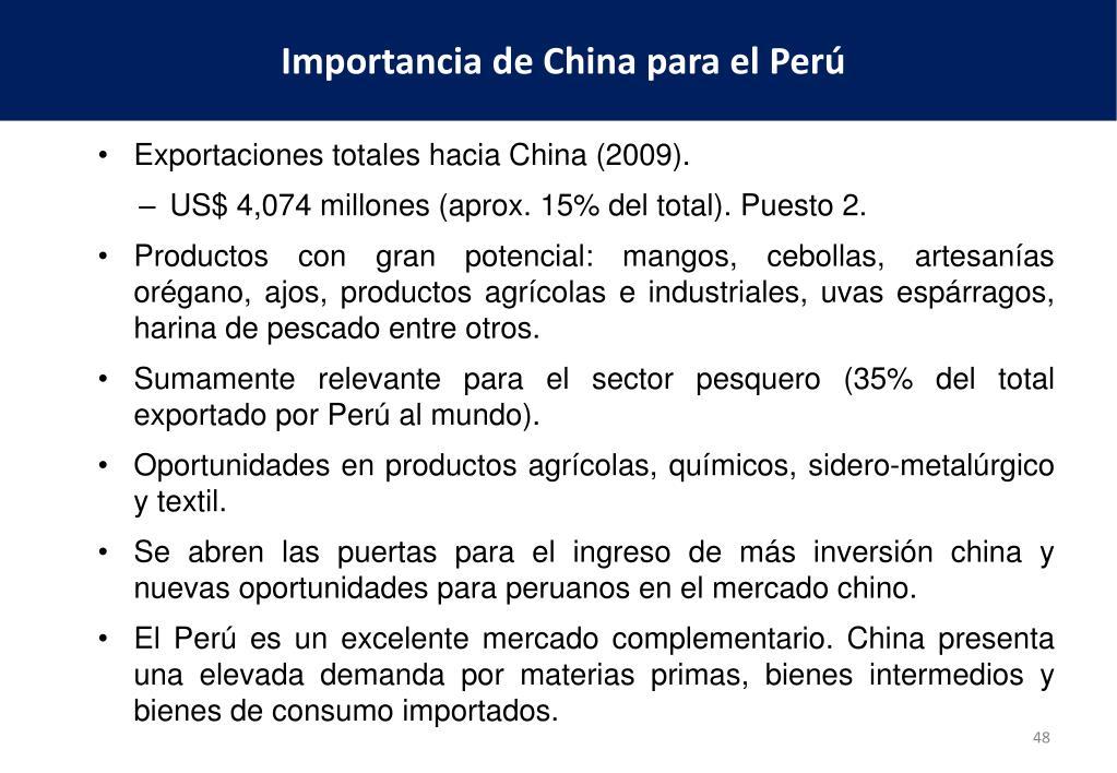 Exportaciones totales hacia China (2009).