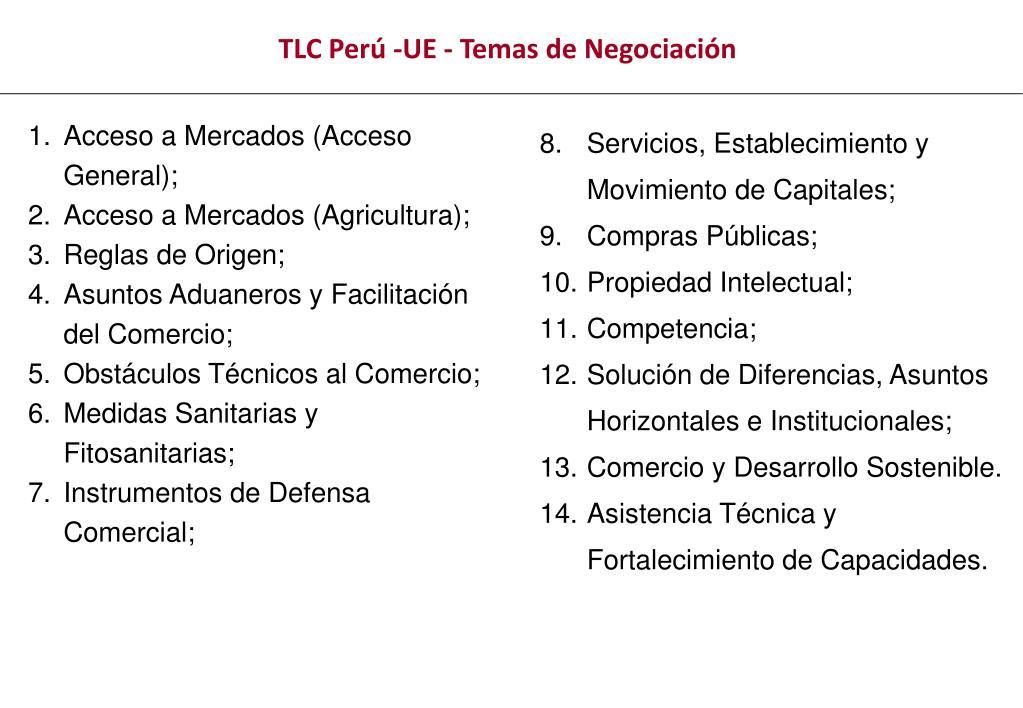 TLC Perú -UE - Temas de Negociación