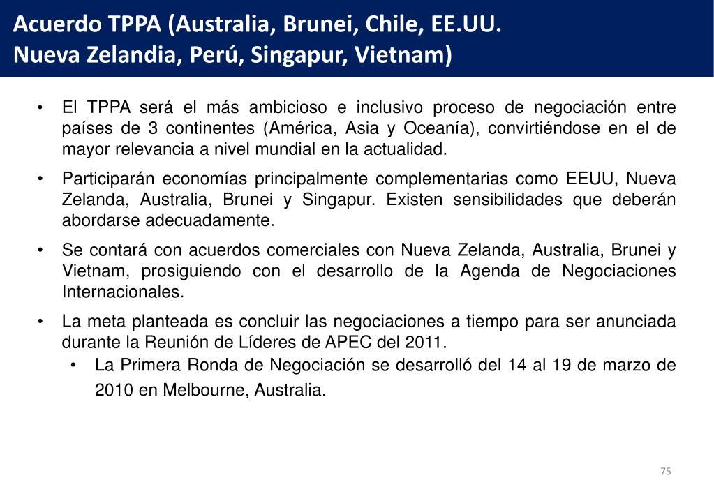 Acuerdo TPPA (Australia, Brunei, Chile, EE.UU.