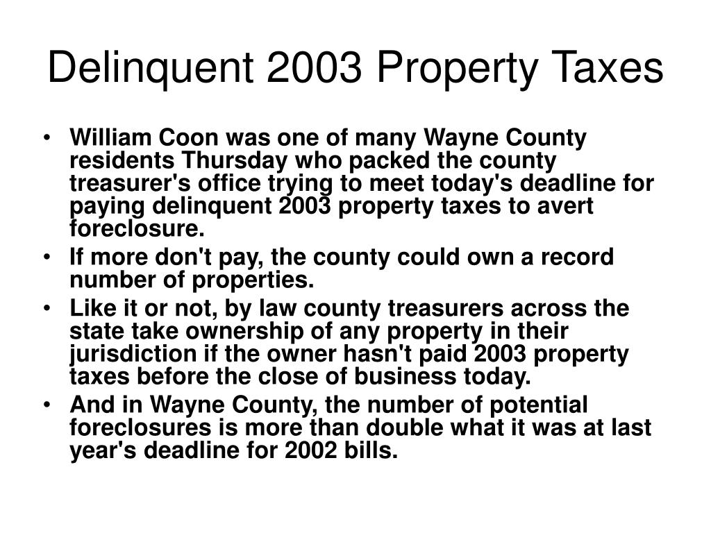 Delinquent 2003 Property Taxes