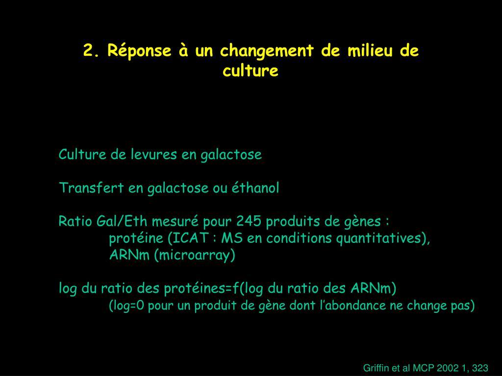 2. Réponse à un changement de milieu de culture