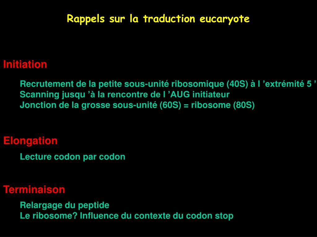 Rappels sur la traduction eucaryote